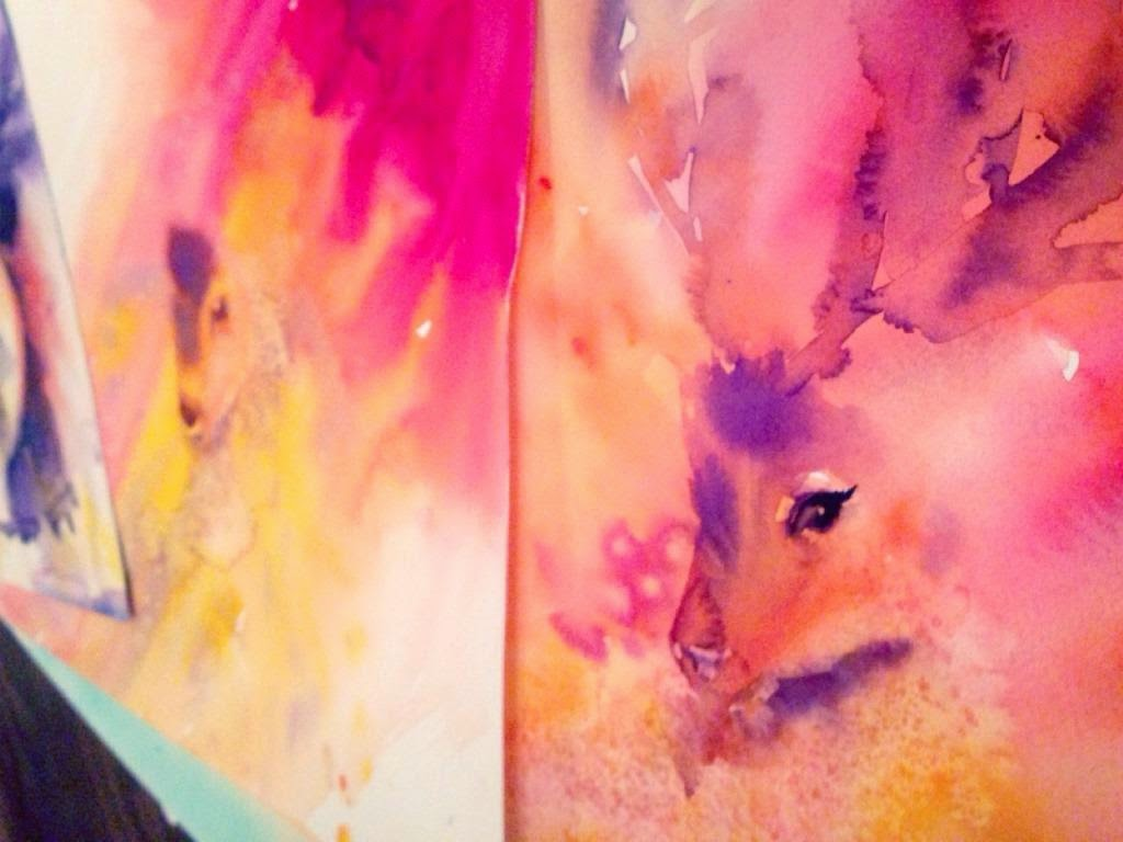 Male deers in watercolor in progress in stages by Olga Peregood