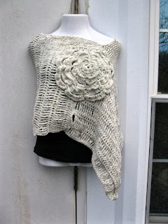 cream flower accented poncho womens handmade crocheted by ElegantCrochets