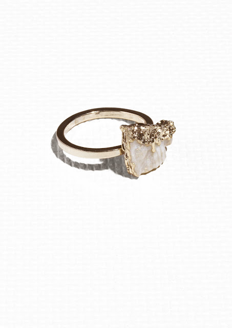 white rock ring, white and gold ring, stories rock ring,