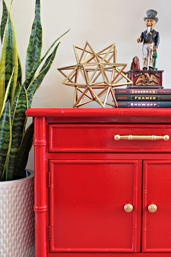 Rustoleum Sunrise Red, bamboo furniture, bamboo nightstand, glossy red paint