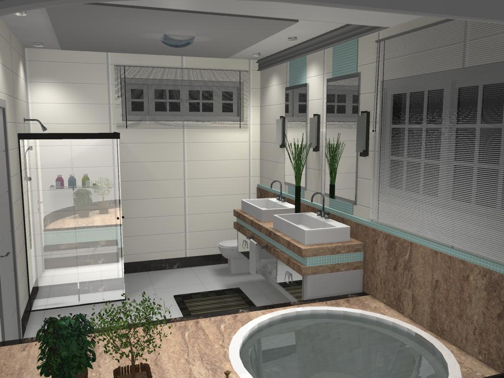 Banheiro para um jovem casal onde usou se mármore travertino marrom  #7D654E 1024x768 Banheiro Completo Autocad