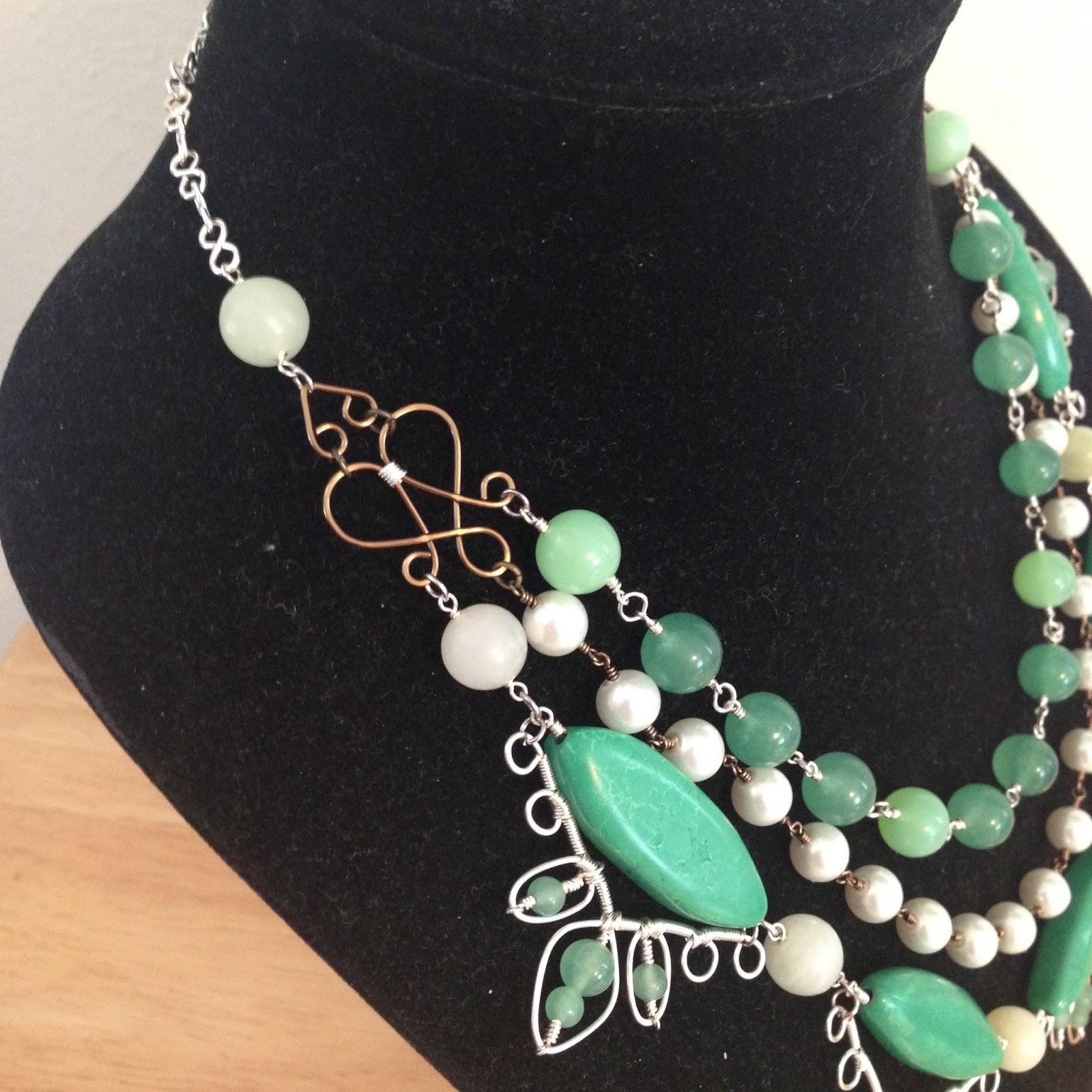 Everyday Bijoux: \'Green Goddess\' Wire Wrapped Statement Necklace
