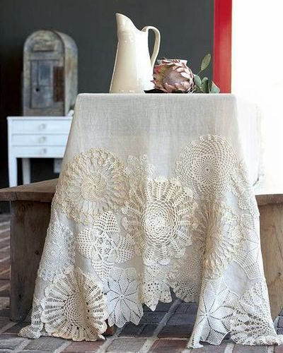 crocheted doilies tablecloth