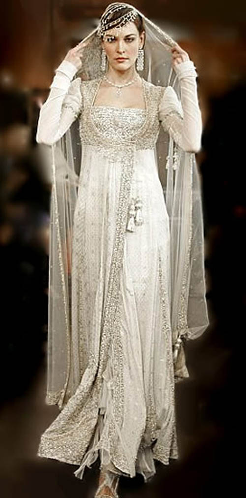 White bridal dresses dulha dulhan for Middle eastern wedding dresses