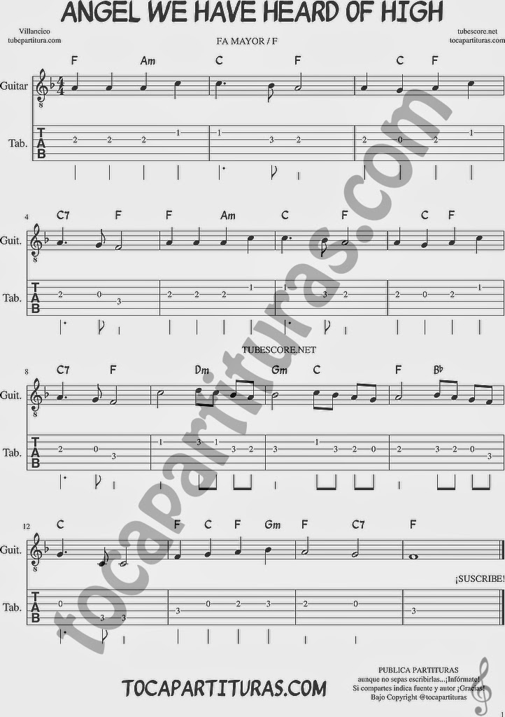 tubescore: Angel We Have Heard of High Tablature Sheet Music for ...