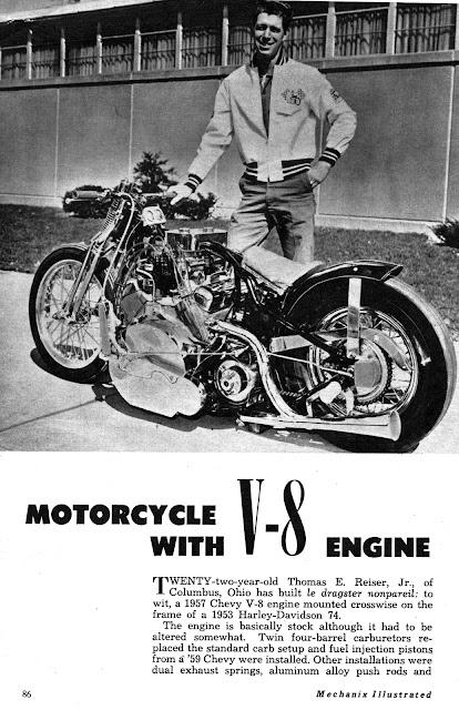 1957 Chevy V-8 mounted in 1953 Harley-Davidson 74