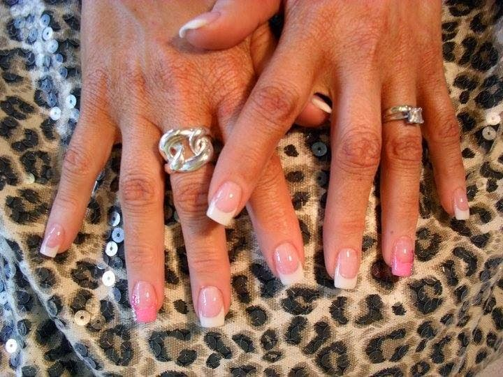 Acrylic back-fill and Gel-color Manicure classic French white Peach-blow neon pastel pink feats