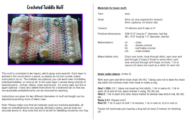 Free Crochet Pattern For Twiddle Muff : Knit and Natter: TWIDDLE MUFFS