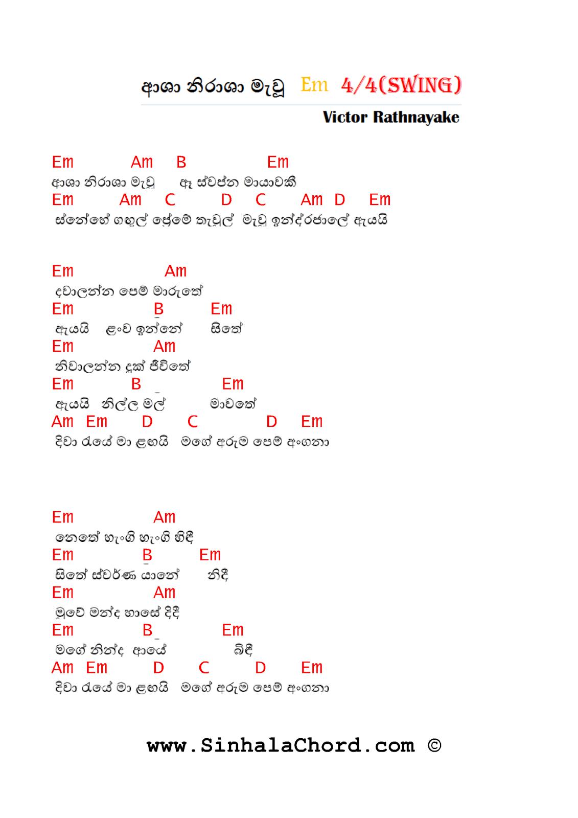 Asha Nirasha Mawu Guitar Chords Sinhala Guitar Chordssinhala