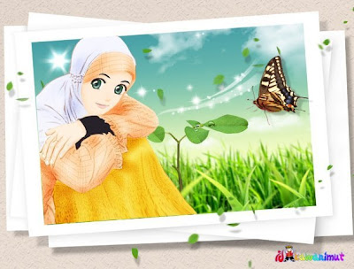 of Wallpaper Gambar Kartun Cewek Sholihah Berjilbab Ani
