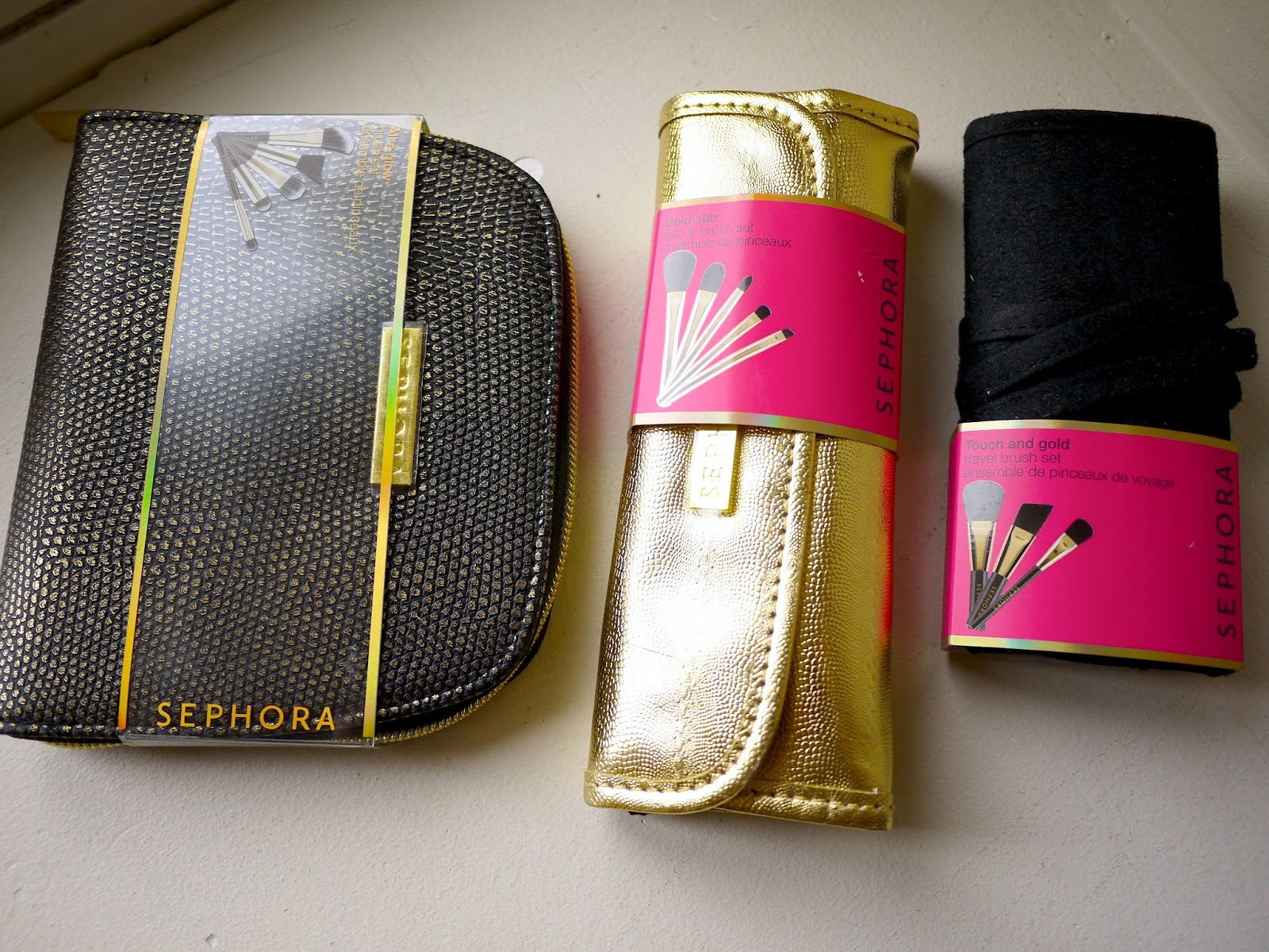 sephora touch and gold travel brush set all a glow brush set gold star skinny brush set review