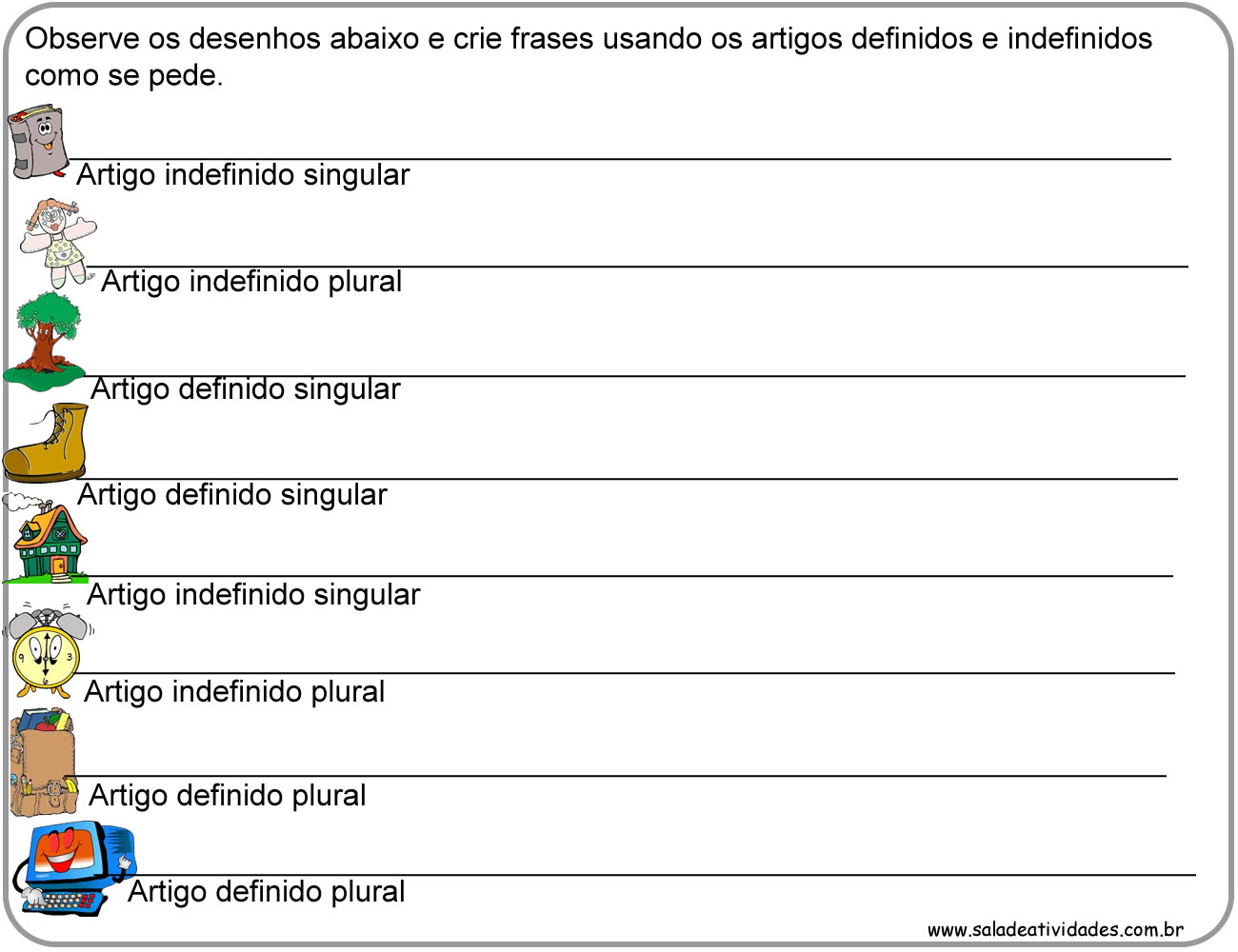 Artigo definido e indefinido exerc cios atividades 3 4 5 for Interior sinonimos