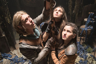 Austin Butler as Wil Ohmsford, Poppy Drayton as Amberle Elessedil, and Ivana Baquero as Eretria in The Shannara Chronicles