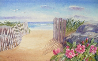 East Beach watercolor custom painting