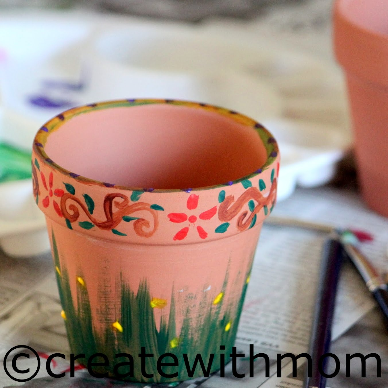 Acrylic Painting On Clay Pots