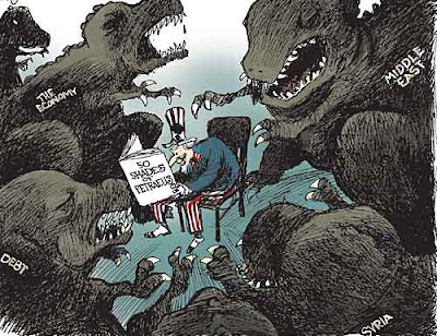 Political cartoon showing Uncle Sam reading a book called 50 Shades of Petraeus while surrounded by T-Rexes labeled Debt Economy Syria and Middle East