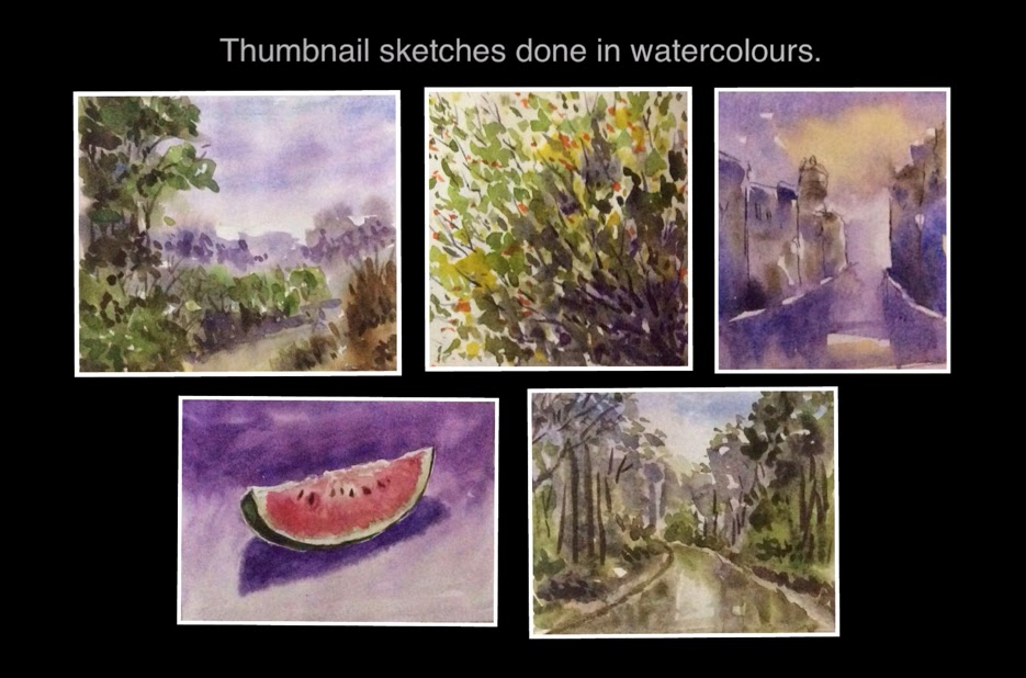 Thumbnail sketches of forest, slice of melon, wet street scene, foliage in water colours by Manju Panchal