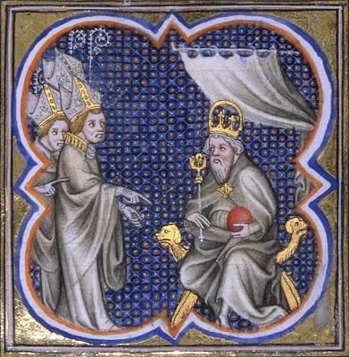 Carlos Magno recebe bispos da Gália, Grandes Chroniques de France