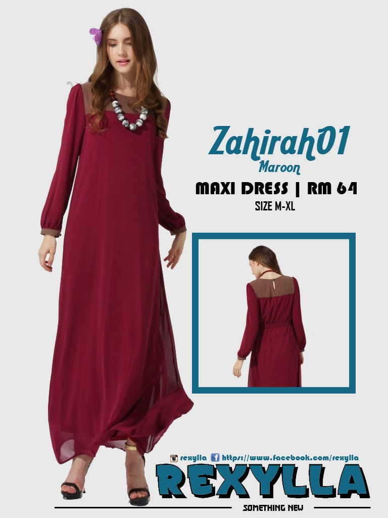 rexylla, maxi dress, zahirah01, maroon