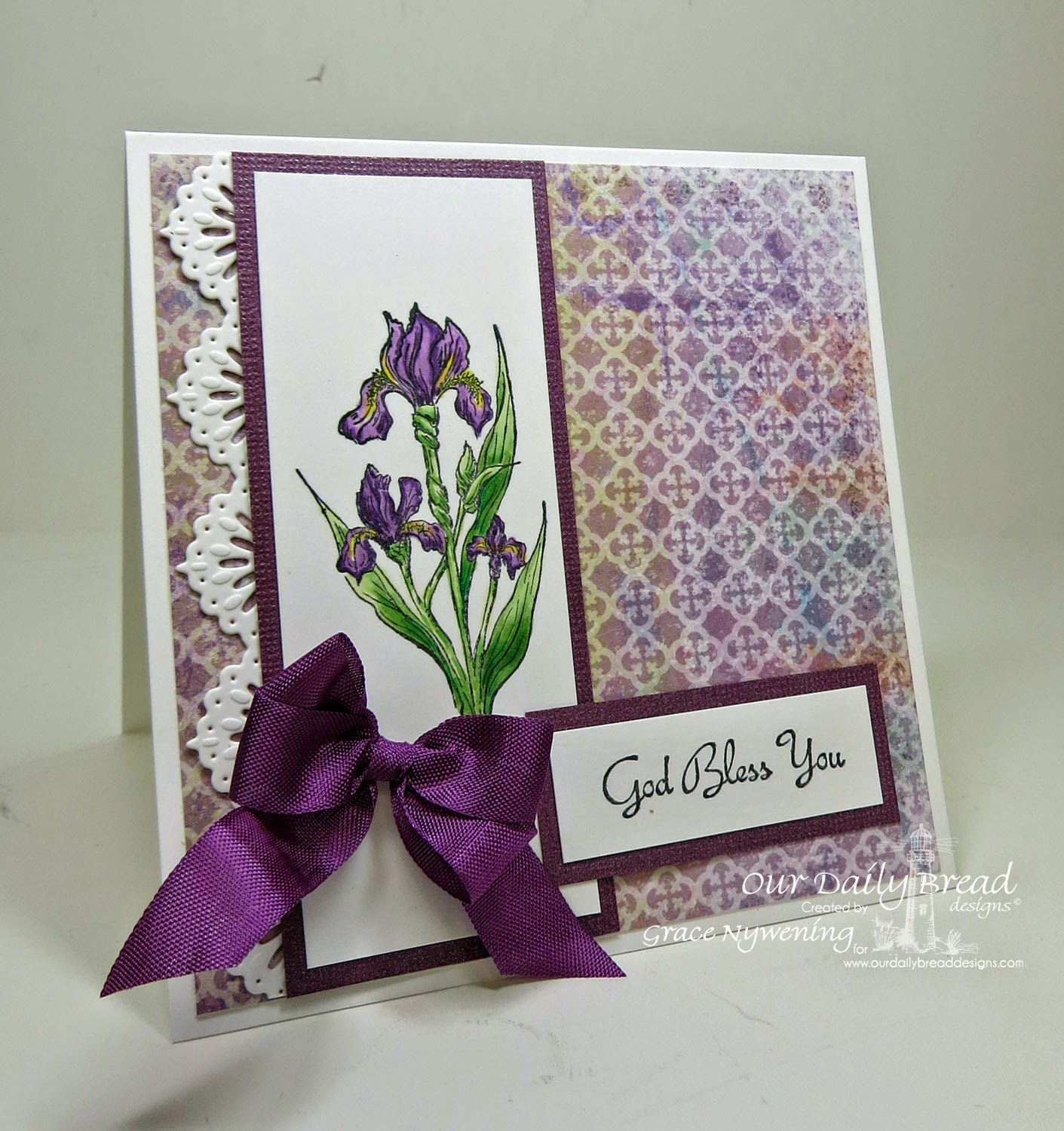 Our Daily Bread designs stamps: Iris, Rose, ODBD Christian Faith Paper Collection, ODBD Beautiful Border dies, designed by Grace Nywening