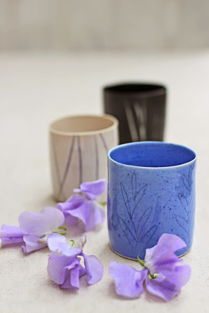 Pale purple sweet peas, Cups by Lotta Zerrander