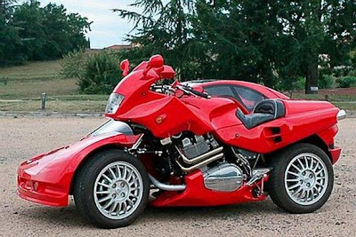 Modification Ferrari Motorcycle With a Car