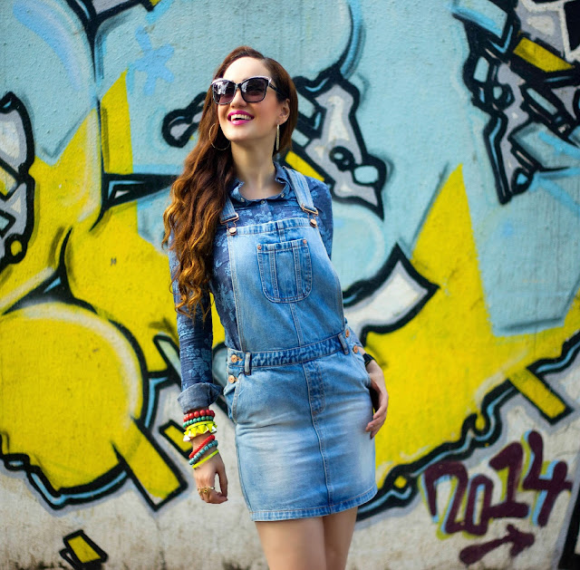 VERO MODA Denim Dungarees, Denim Floral Shirt, MIU MIU Cat-eye Sunglasses, Denim on Denim