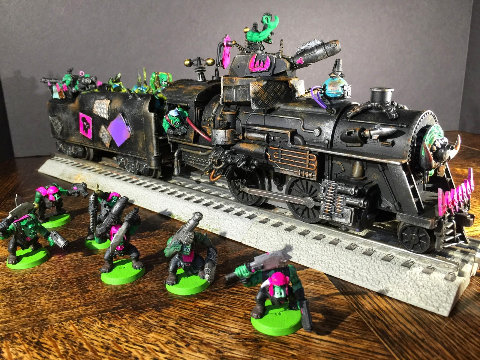 Ork Steam Train, Apocalypse Battle, Pink Orks, Battle Gaming One