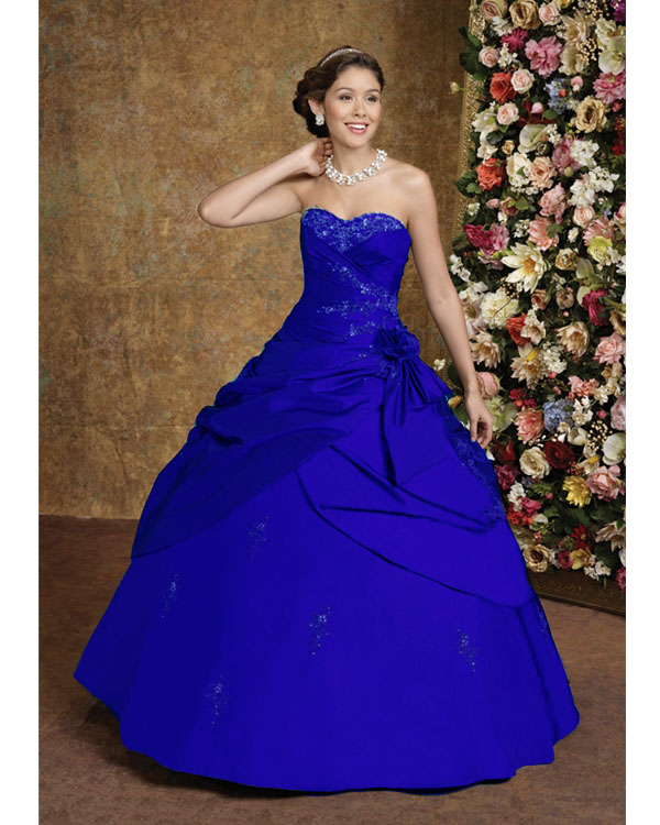 Big Blue Wedding Dresses Design With Ribbon And Pearl Beads Wedding