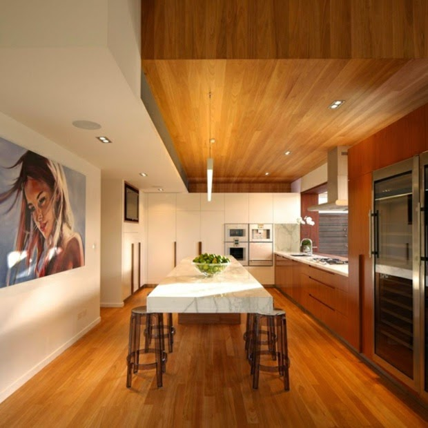 wood false ceiling designs: modern kitchen with wooden ceiling