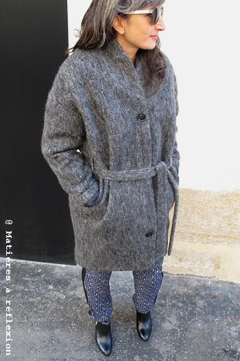 Manteau gris chiné laine Coatpeople