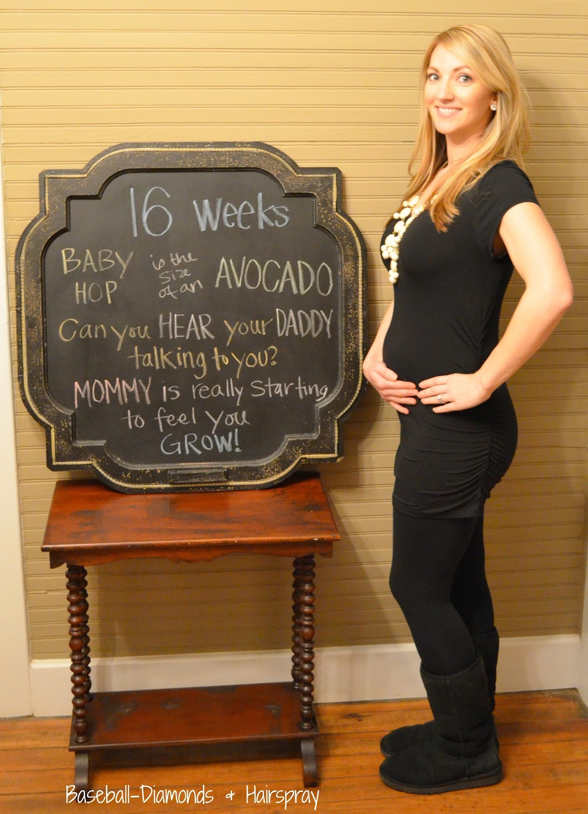 16 weeks belly pic chalkboard