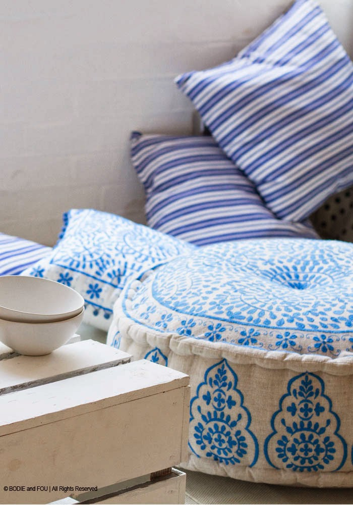 Nomad embroidered pouffe Blue Summer Home Accessories