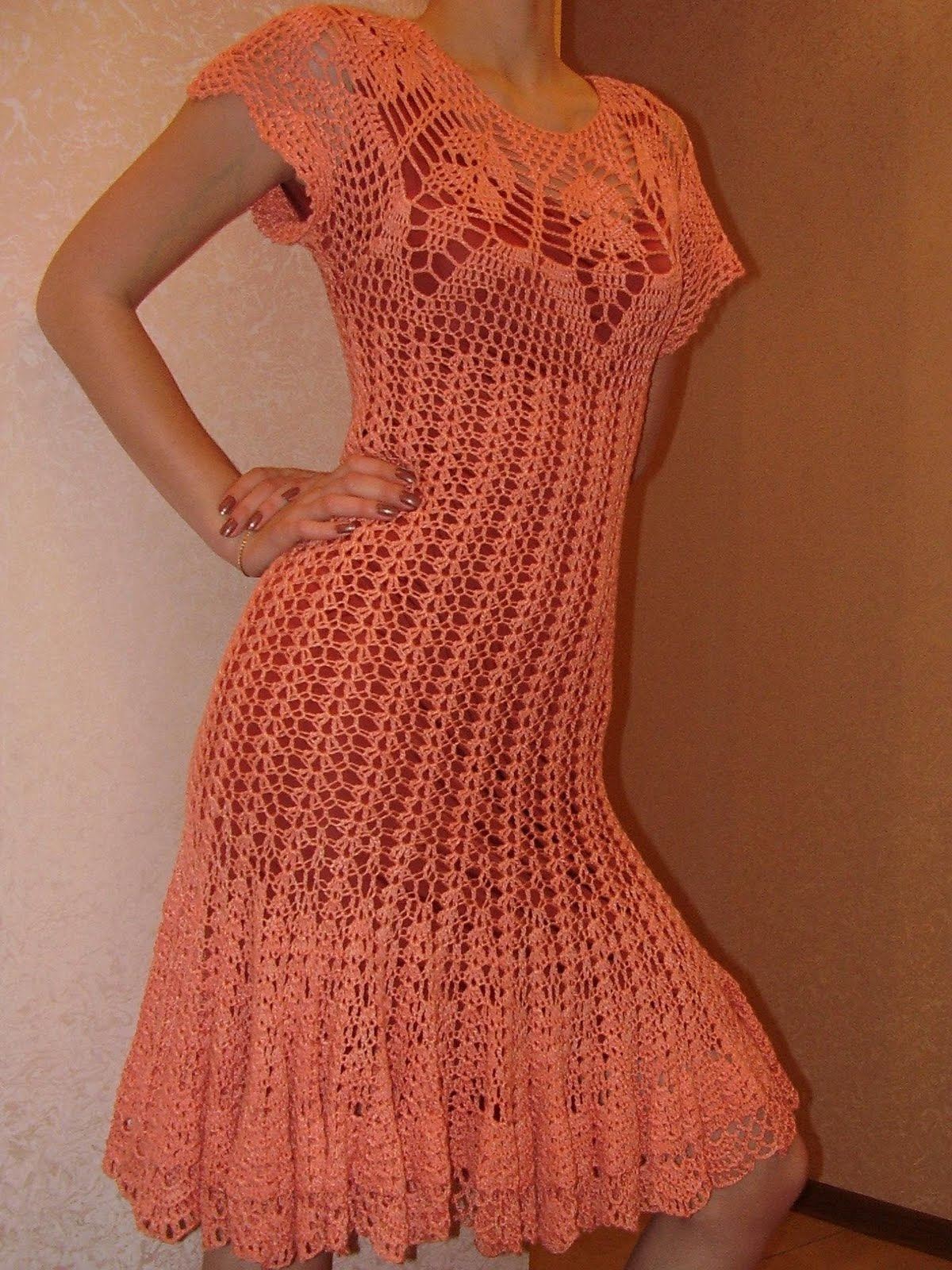 Вязание крючком/Платья,туники, юбки. платье крючком схема. ажурное платье крючком.