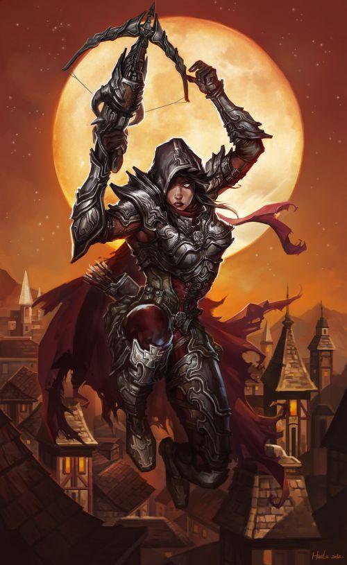 Lu Hua ilustrações arte conceitual fantasia games Caçadora de demônios