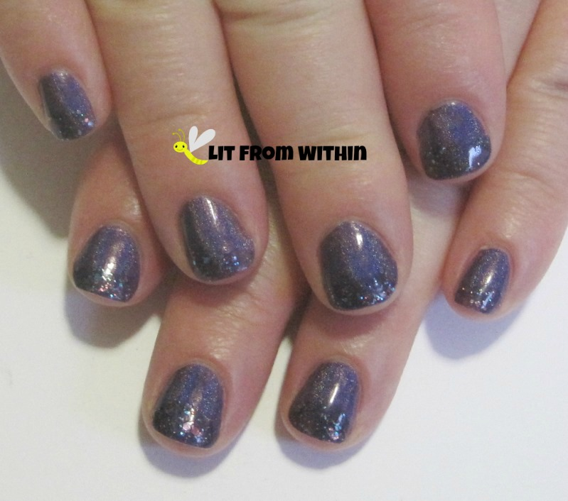 Glitter tips on both hands with Blue-Eyed Girl Lacquer BEG Love, and Different Dimension Orbital