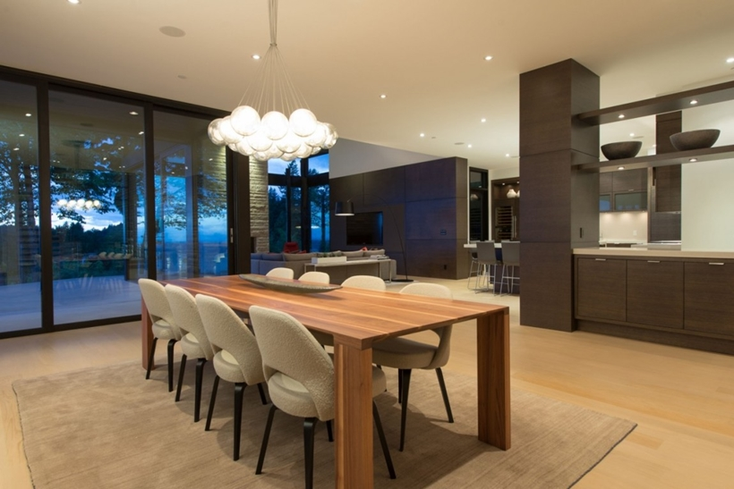 Dining table in Elegant modern house in west Vancouver, Canada