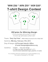 Designed by youth pollicita middle school daly city for T shirt design contest flyer