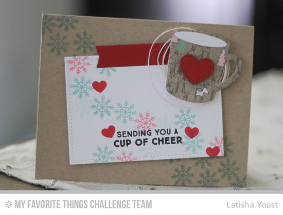 Cup of Cheer Card by Latisha Yoast featuring the Laina Lamb Design Hug in a Mug stamp set and Hot Cocoa Cups Die-namics #mftstamps