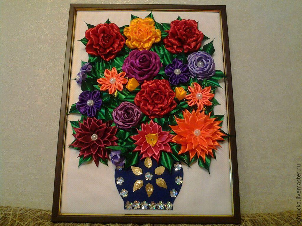 Картина цветы из атласных лент своими руками 44