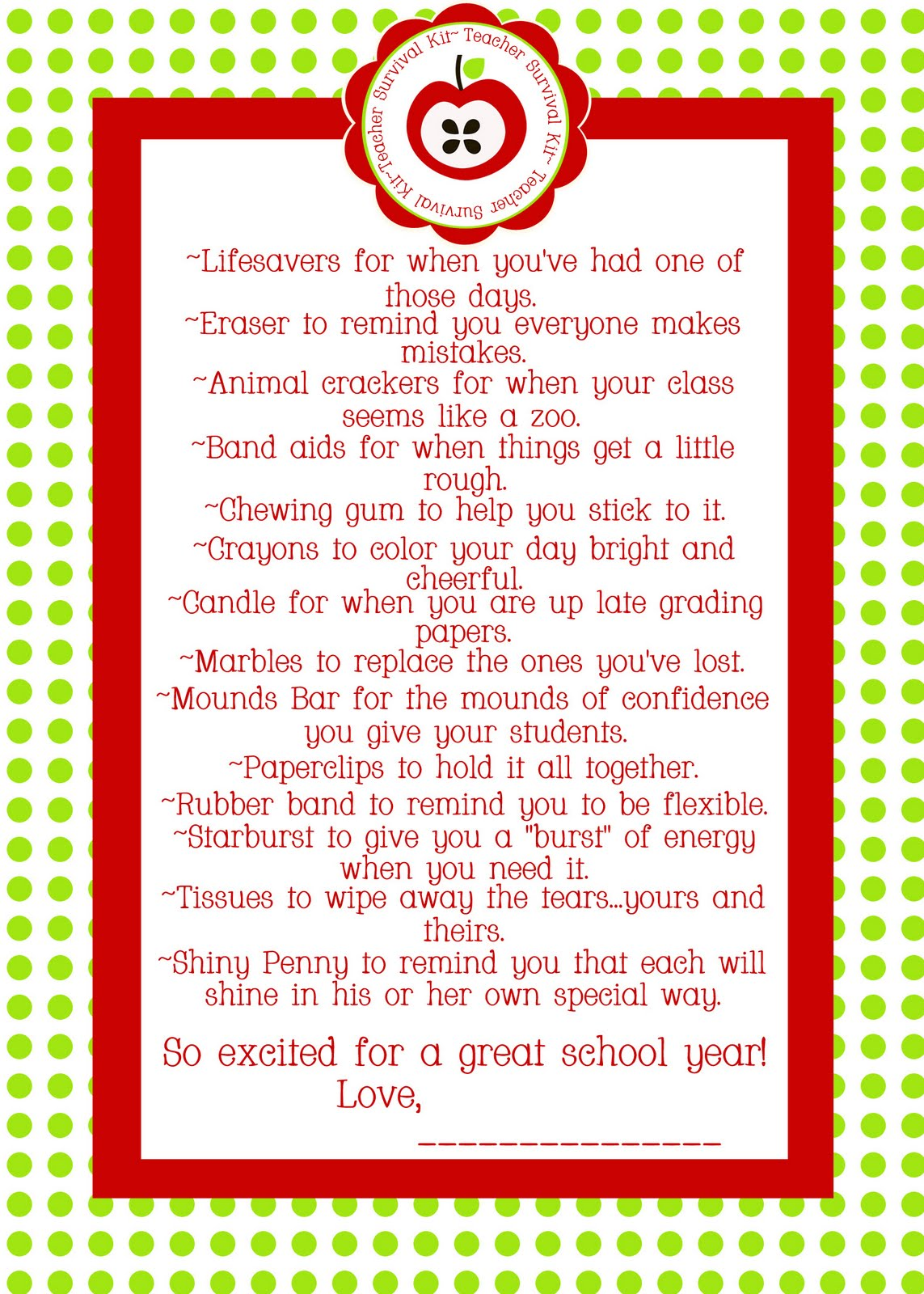 image regarding Teacher Survival Kit Printable named Paperlicious Women of all ages: No cost Printable~Instructor Survival Package