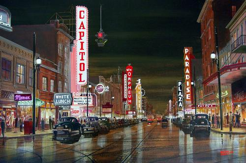 Granville street at night 1948, Brian Croft paintings of Vancouver, Historical paintings, Old vancouver