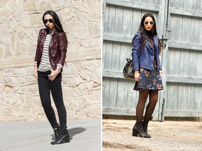Leather biker jackets in berry and blue mazzarine by Muubaa