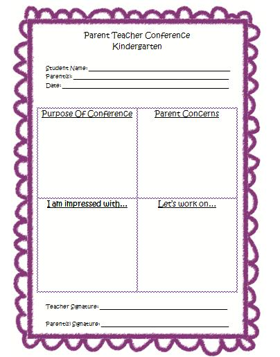 Mrs BumgardnerS Kindergarten Parent Teacher Conference Form