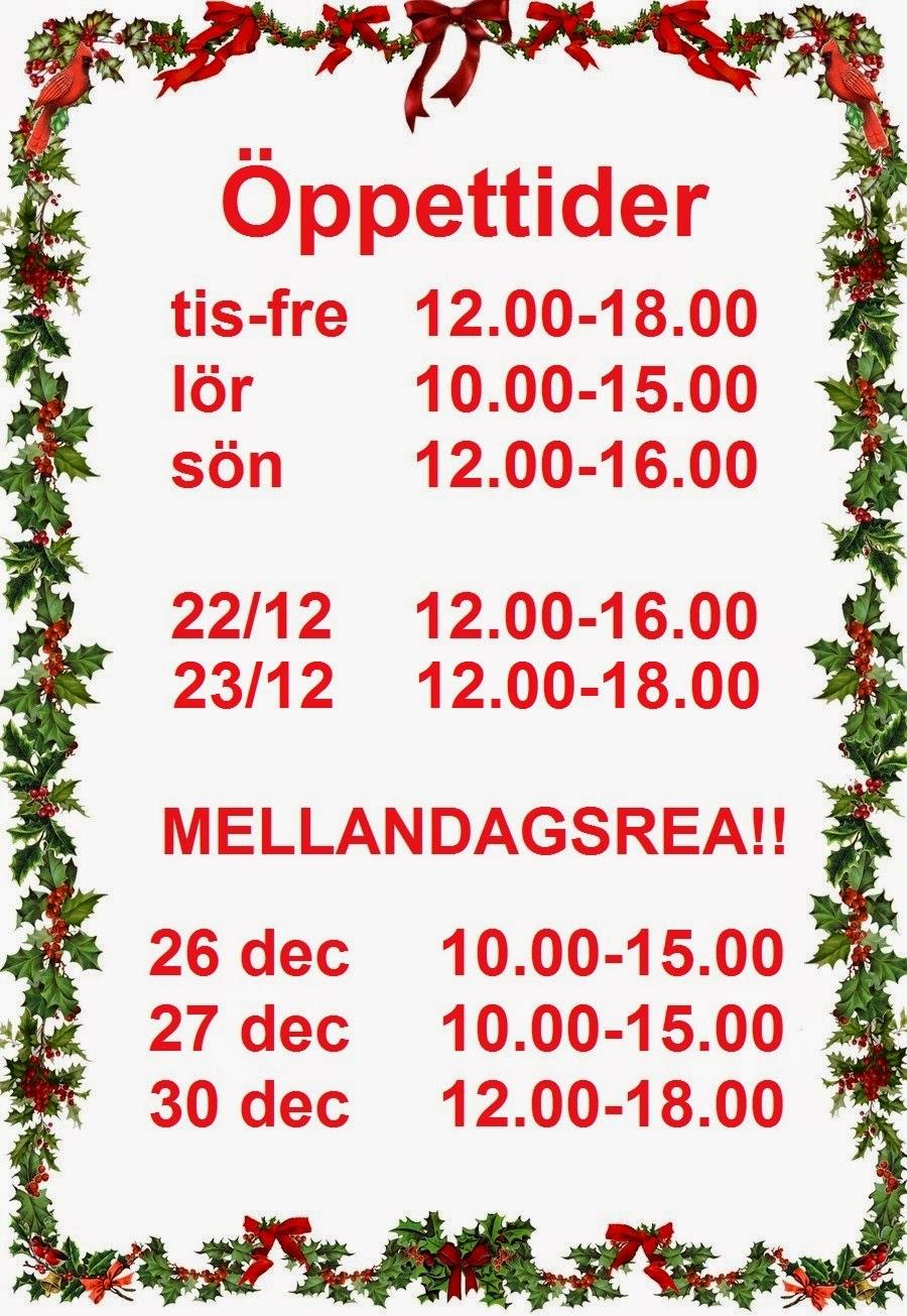Öppettider runt jul