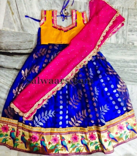 Jute Net Blue Half Saree