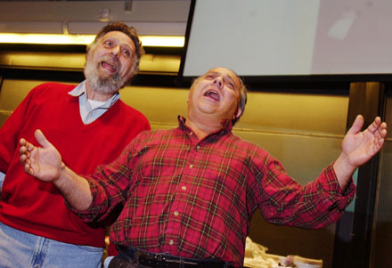 Tom and Ray Magliozzi of NPR's Car Talk appear to be singing