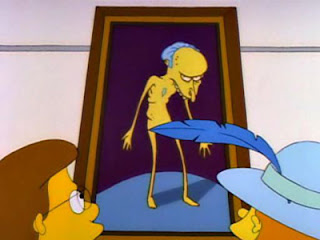 Marge's portrait of Mr. Burns. Description in caption.