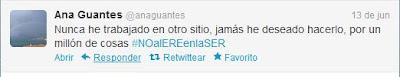 Tuit de la periodista Ana Guantes