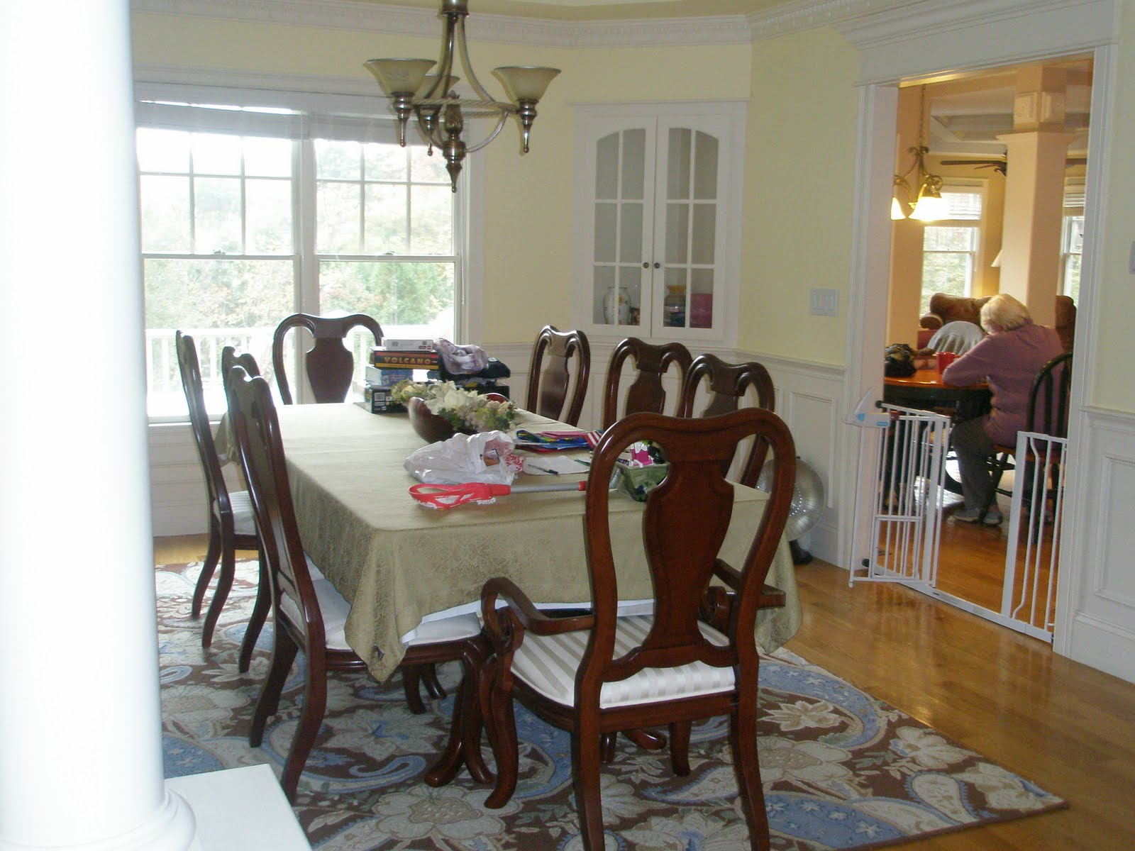 dining room before dining room after addition of custom drapery title=